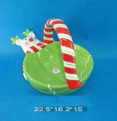 dolomite christmas plate/basket deco