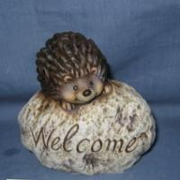 hedgehog standing on stone for garden